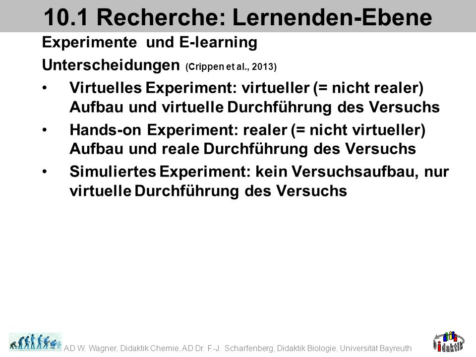 Experimente und E-learning Unterscheidungen (Crippen et al., 2013) Virtuelles Experiment: virtueller (= nicht realer) Aufbau und virtuelle Durchführung des Versuchs Hands-on Experiment: realer (= nicht virtueller) Aufbau und reale Durchführung des Versuchs Simuliertes Experiment: kein Versuchsaufbau, nur virtuelle Durchführung des Versuchs 10.1 Recherche: Lernenden-Ebene AD W.
