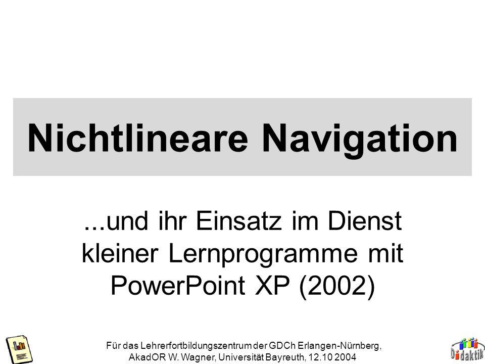 Für das Lehrerfortbildungszentrum der GDCh Erlangen-Nürnberg, AkadOR W.