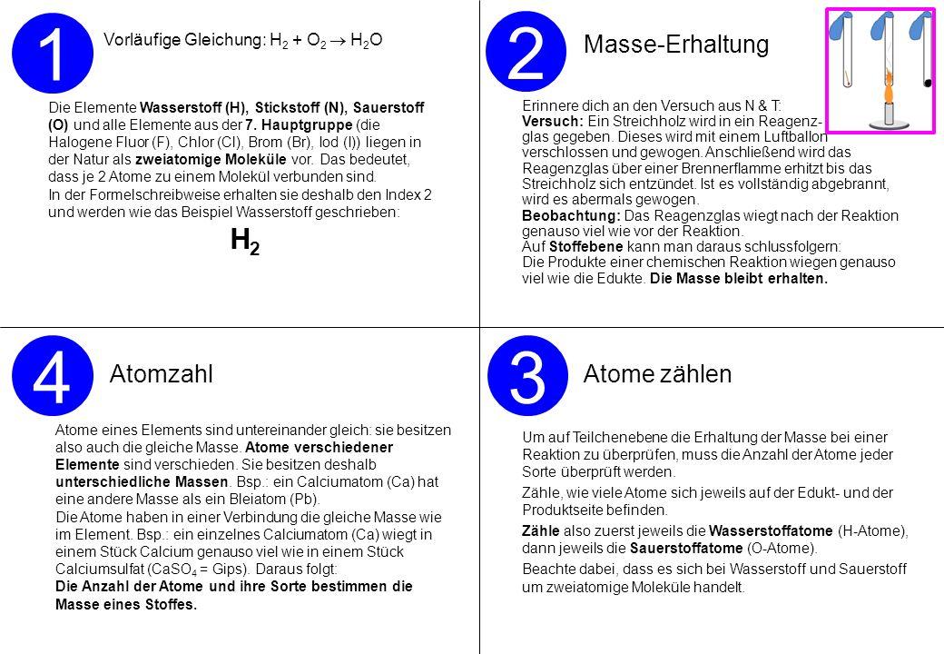 Vorläufige Gleichung: H 2 + O 2 H 2 O Die Elemente Wasserstoff (H), Stickstoff (N), Sauerstoff (O) und alle Elemente aus der 7. Hauptgruppe (die Halog
