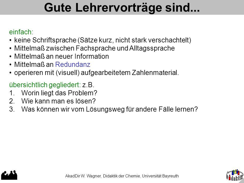 AkadDir W. Wagner, Didaktik der Chemie, Universität Bayreuth Gute Lehrervorträge sind... einfach: keine Schriftsprache (Sätze kurz, nicht stark versch