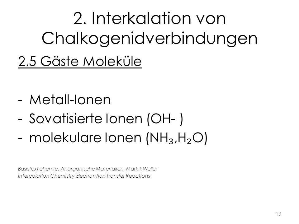 2. Interkalation von Chalkogenidverbindungen 2.5 Gäste Moleküle -Metall-Ionen -Sovatisierte Ionen (OH- ) -molekulare Ionen (NH,H O) Basistext chemie,