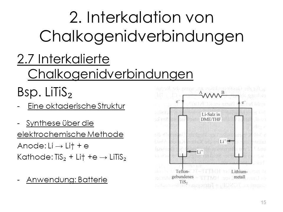 2. Interkalation von Chalkogenidverbindungen 2.7 Interkalierte Chalkogenidverbindungen Bsp. LiTiS -Eine oktaderische Struktur - Synthese über die elek