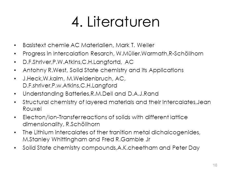 4. Literaturen Basistext chemie AC Materialien, Mark T. Weller Progress in Intercalation Resarch, W.Müller.Warmath,R-Schöllhorn D.F.Shriver,P.W.Atkins