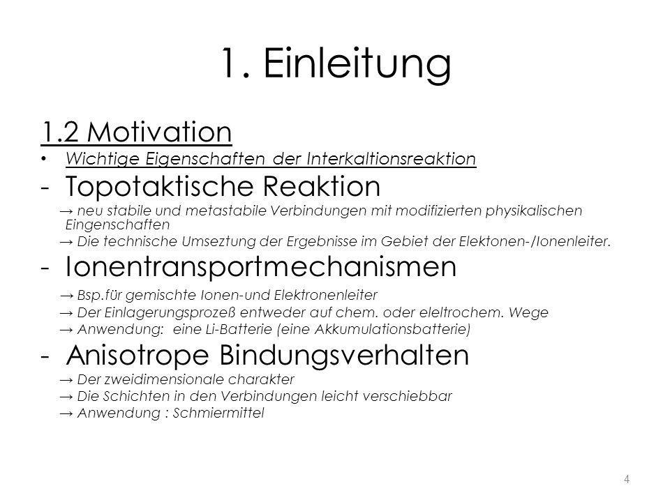 1. Einleitung 1.2 Motivation Wichtige Eigenschaften der Interkaltionsreaktion -Topotaktische Reaktion neu stabile und metastabile Verbindungen mit mod