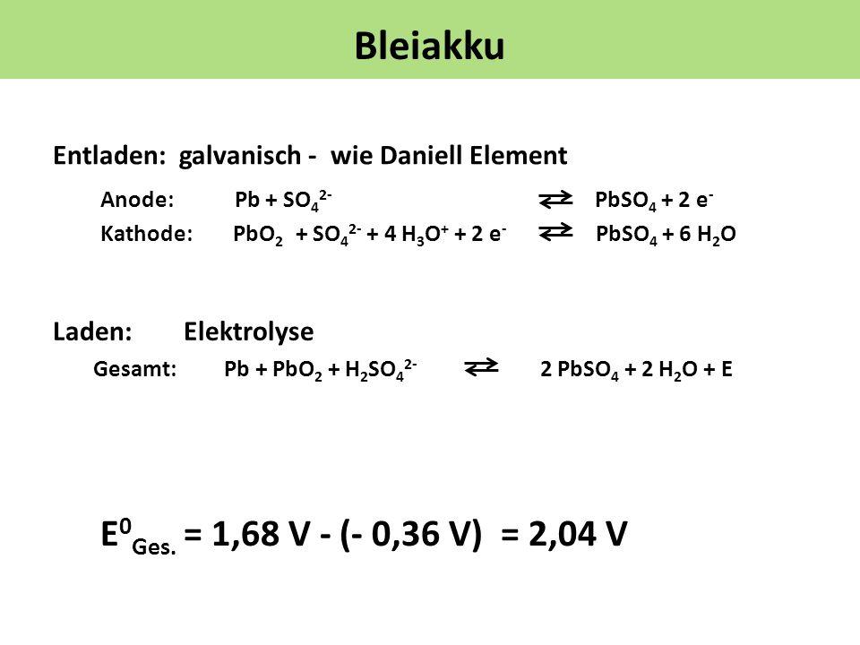 Bleiakku Entladen: galvanisch - wie Daniell Element Laden: Elektrolyse Anode: Pb + SO 4 2- PbSO 4 + 2 e - Kathode: PbO 2 + SO 4 2- + 4 H 3 O + + 2 e -