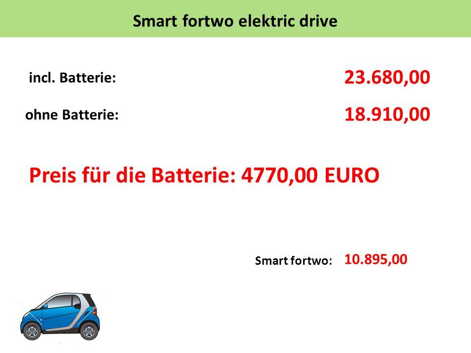 Smart fortwo elektric drive incl. Batterie: Preis für die Batterie: 4770,00 EURO 18.910,00 10.895,00 ohne Batterie: 23.680,00 Smart fortwo: