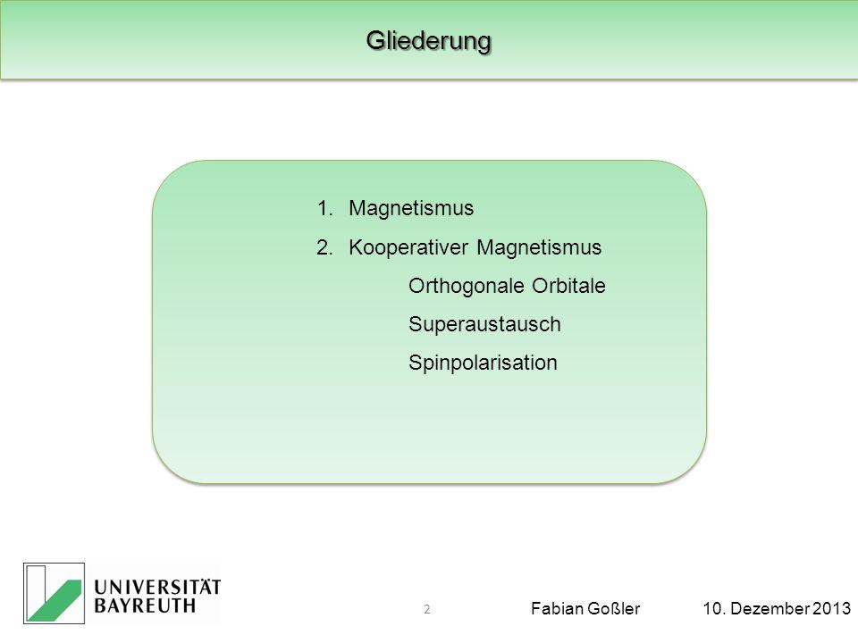 Fabian Goßler10.Dezember 2013 2. Kooperativer Magnetismus Spinpolarisation Quelle: T.