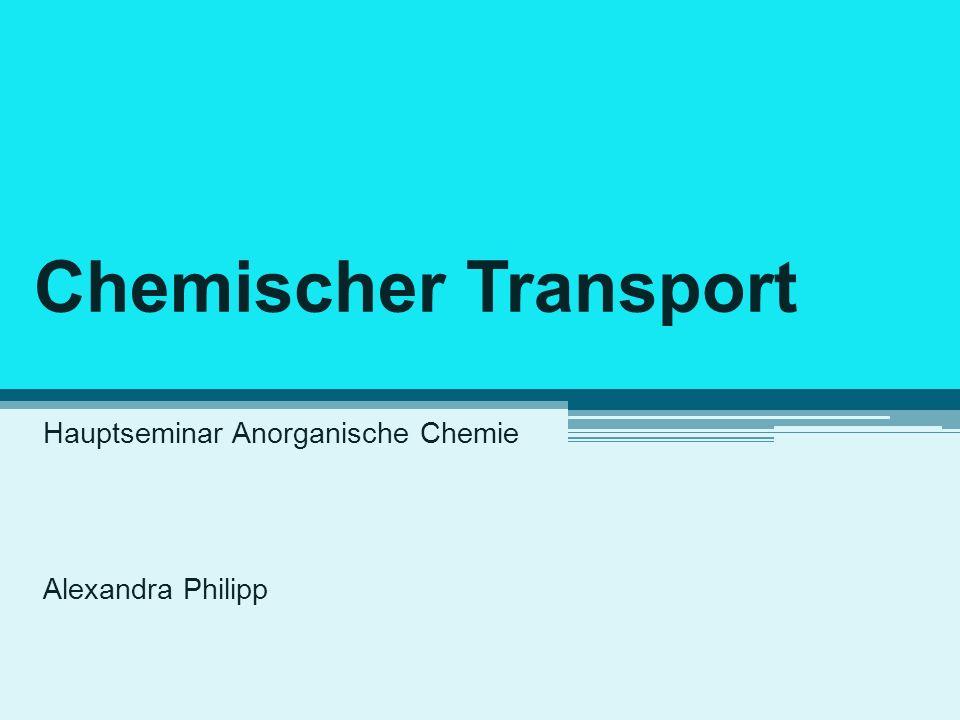 Chemischer Transport Hauptseminar Anorganische Chemie Alexandra Philipp