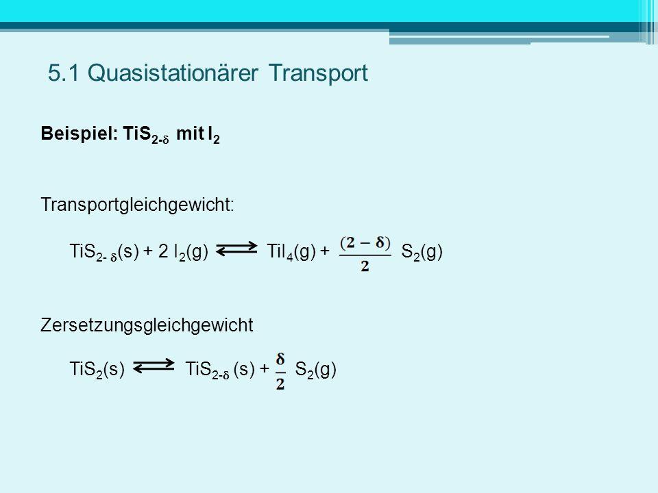 Beispiel: TiS 2- mit I 2 Transportgleichgewicht: TiS 2- (s) + 2 I 2 (g) TiI 4 (g) + S 2 (g) Zersetzungsgleichgewicht TiS 2 (s) TiS 2- (s) + S 2 (g) 5.