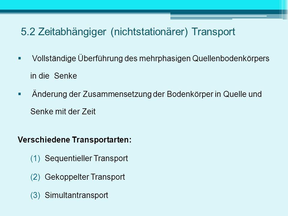 5.2 Zeitabhängiger (nichtstationärer) Transport Vollständige Überführung des mehrphasigen Quellenbodenkörpers in die Senke Änderung der Zusammensetzun