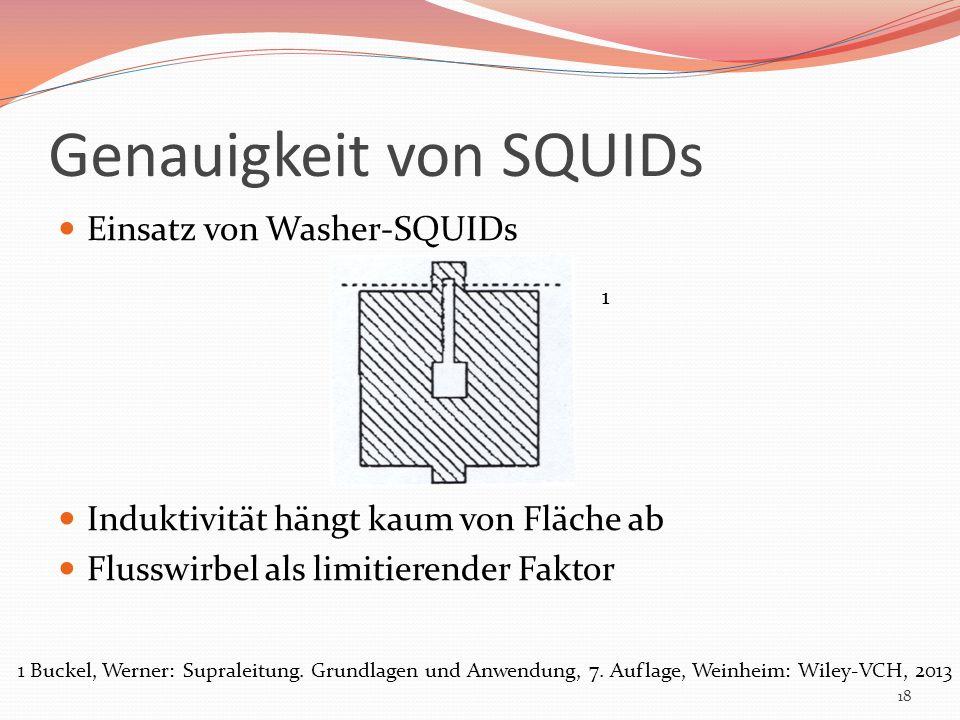 Genauigkeit von SQUIDs Einsatz von Washer-SQUIDs Induktivität hängt kaum von Fläche ab Flusswirbel als limitierender Faktor 18 1 1 Buckel, Werner: Sup