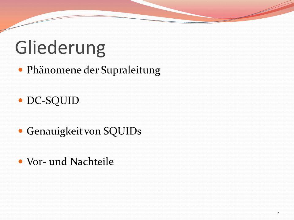 Gliederung Phänomene der Supraleitung DC-SQUID Genauigkeit von SQUIDs Vor- und Nachteile 2
