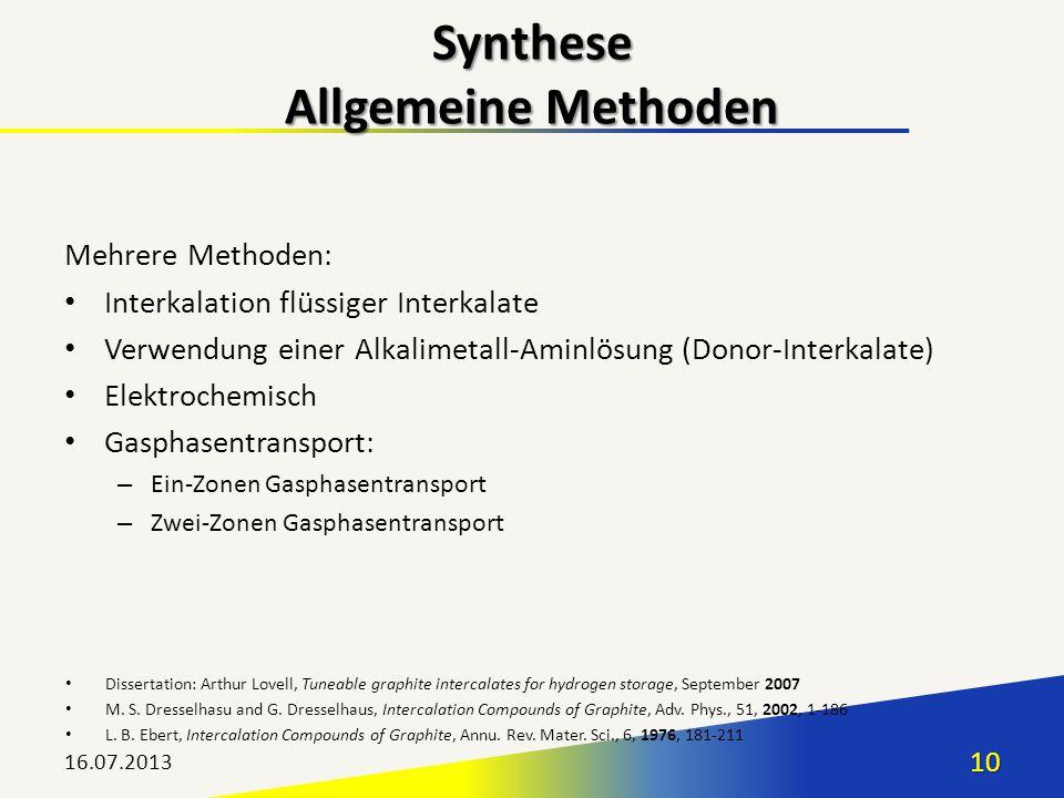 Mehrere Methoden: Interkalation flüssiger Interkalate Verwendung einer Alkalimetall-Aminlösung (Donor-Interkalate) Elektrochemisch Gasphasentransport: