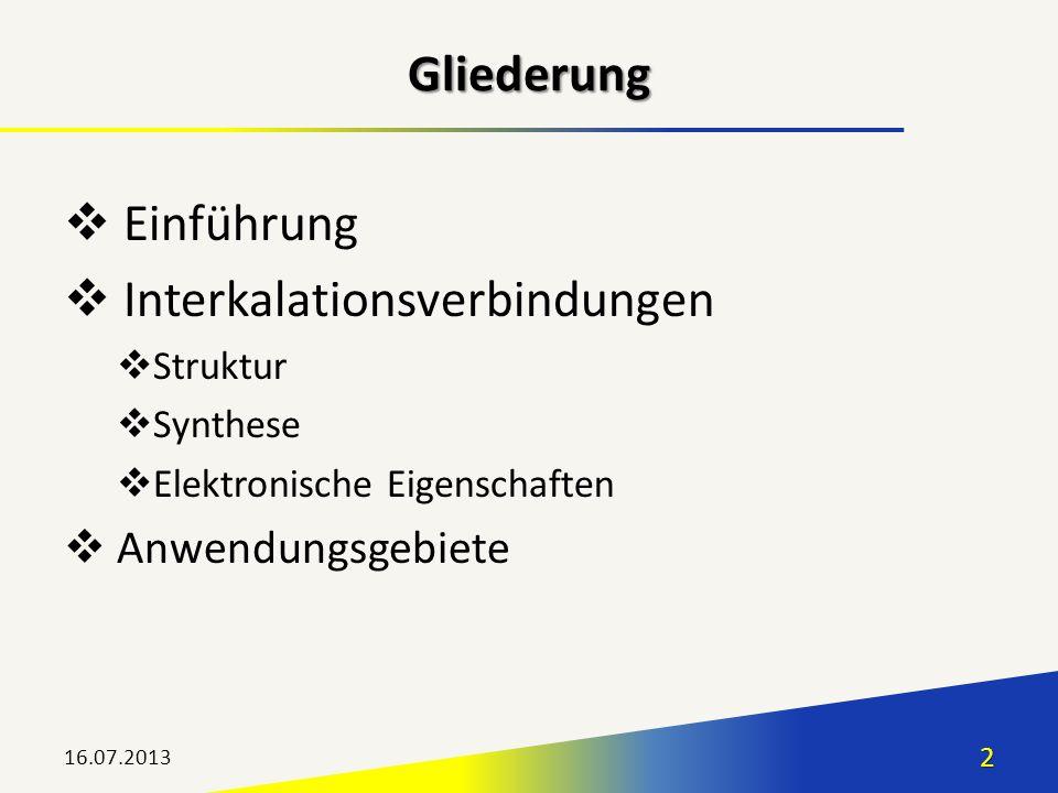 Einführung Interkalationsverbindungen Struktur Synthese Elektronische Eigenschaften Anwendungsgebiete 16.07.20132 Gliederung