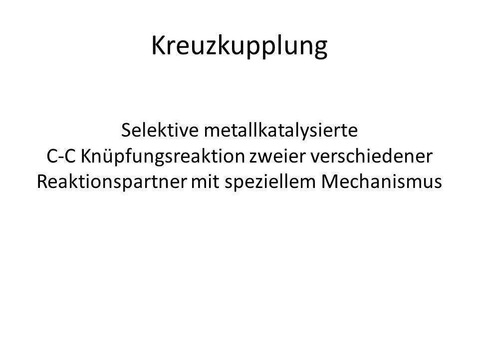 Kreuzkupplung Selektive metallkatalysierte C-C Knüpfungsreaktion zweier verschiedener Reaktionspartner mit speziellem Mechanismus