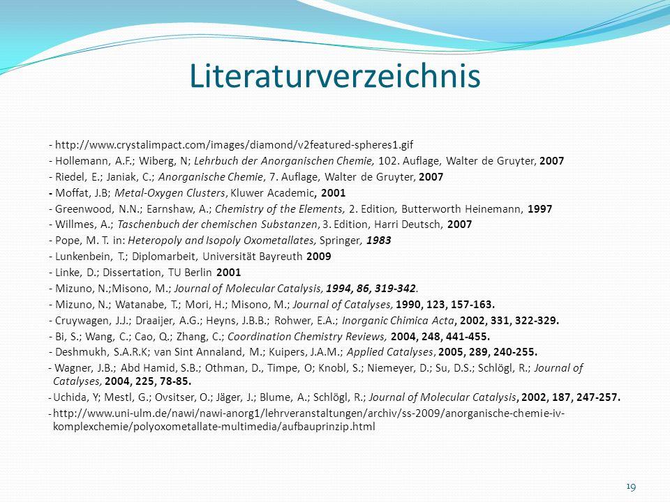 Literaturverzeichnis - http://www.crystalimpact.com/images/diamond/v2featured-spheres1.gif - Hollemann, A.F.; Wiberg, N; Lehrbuch der Anorganischen Ch