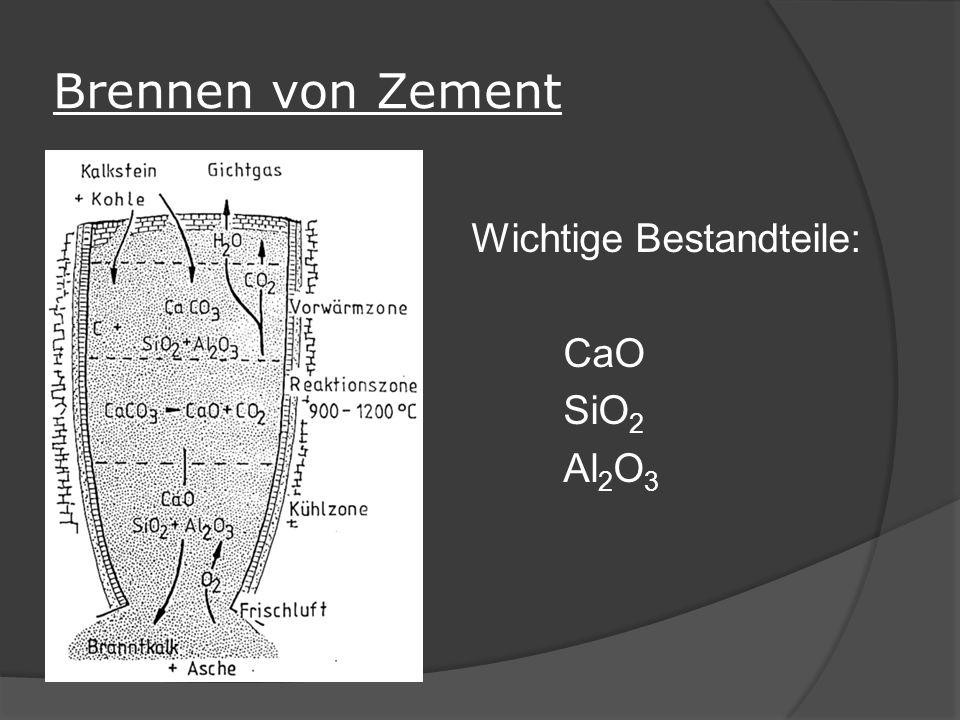 Brennen von Zement Wichtige Bestandteile: CaO SiO 2 Al 2 O 3