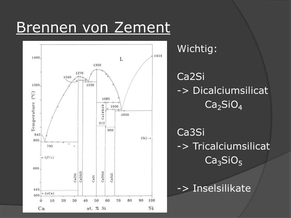Brennen von Zement Wichtig: Ca2Si -> Dicalciumsilicat Ca 2 SiO 4 Ca3Si -> Tricalciumsilicat Ca 3 SiO 5 -> Inselsilikate