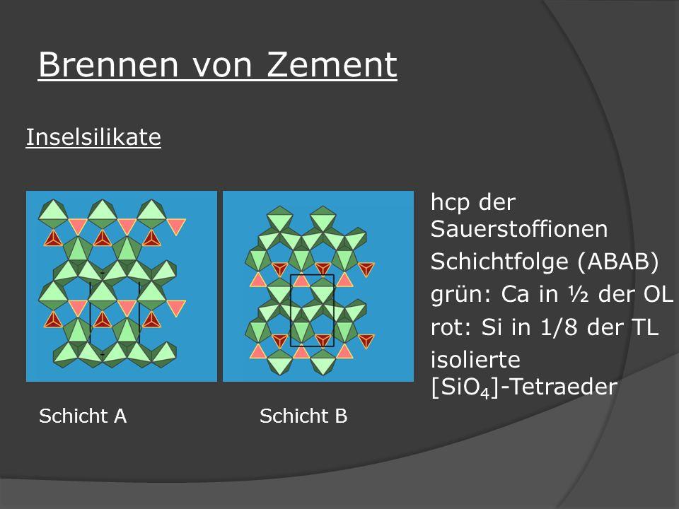 Brennen von Zement Inselsilikate hcp der Sauerstoffionen Schichtfolge (ABAB) grün: Ca in ½ der OL rot: Si in 1/8 der TL isolierte [SiO 4 ]-Tetraeder S