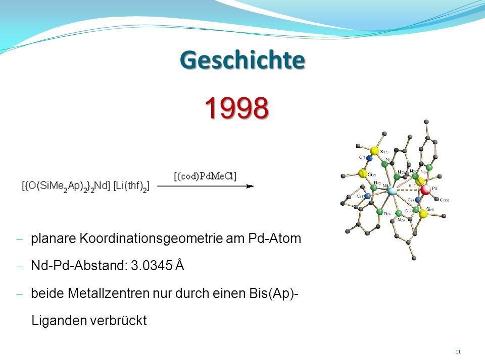 Geschichte 1998 planare Koordinationsgeometrie am Pd-Atom Nd-Pd-Abstand: 3.0345 Å beide Metallzentren nur durch einen Bis(Ap)- Liganden verbrückt 11