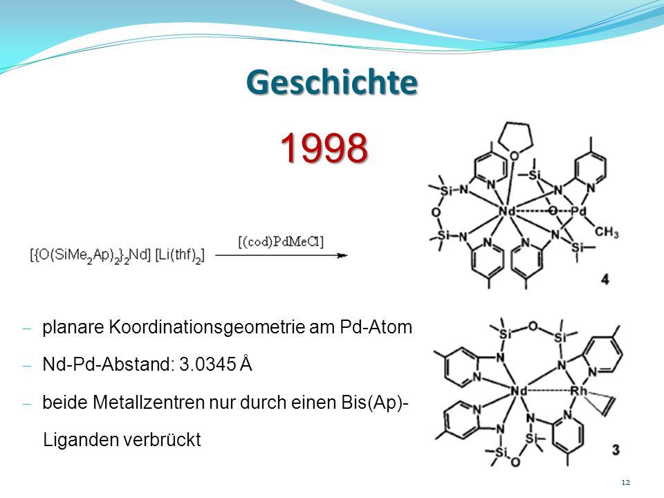 Geschichte 1998 planare Koordinationsgeometrie am Pd-Atom Nd-Pd-Abstand: 3.0345 Å beide Metallzentren nur durch einen Bis(Ap)- Liganden verbrückt 12