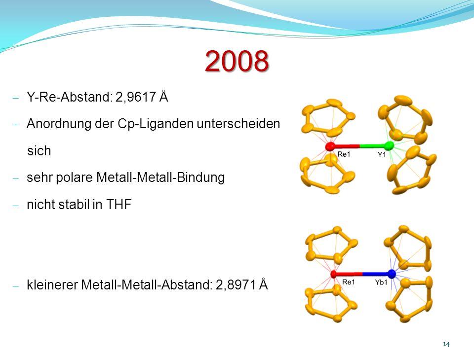 2008 Y-Re-Abstand: 2,9617 Å Anordnung der Cp-Liganden unterscheiden sich sehr polare Metall-Metall-Bindung nicht stabil in THF kleinerer Metall-Metall