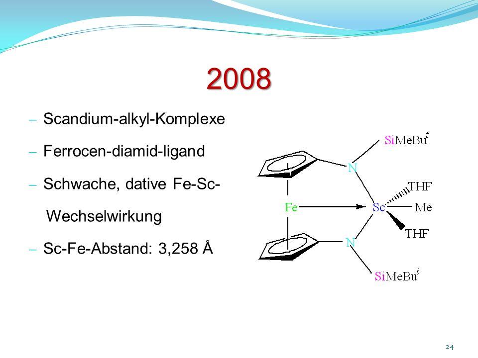 2008 24 Scandium-alkyl-Komplexe Ferrocen-diamid-ligand Schwache, dative Fe-Sc- Wechselwirkung Sc-Fe-Abstand: 3,258 Å