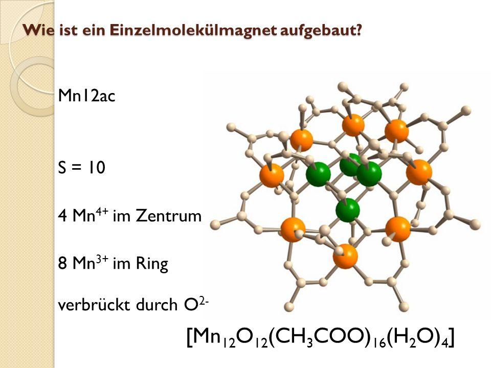 Wie ist ein Einzelmolekülmagnet aufgebaut? Mn12Ac Mn 4+ Mn 3+ Ferrimagn. WW