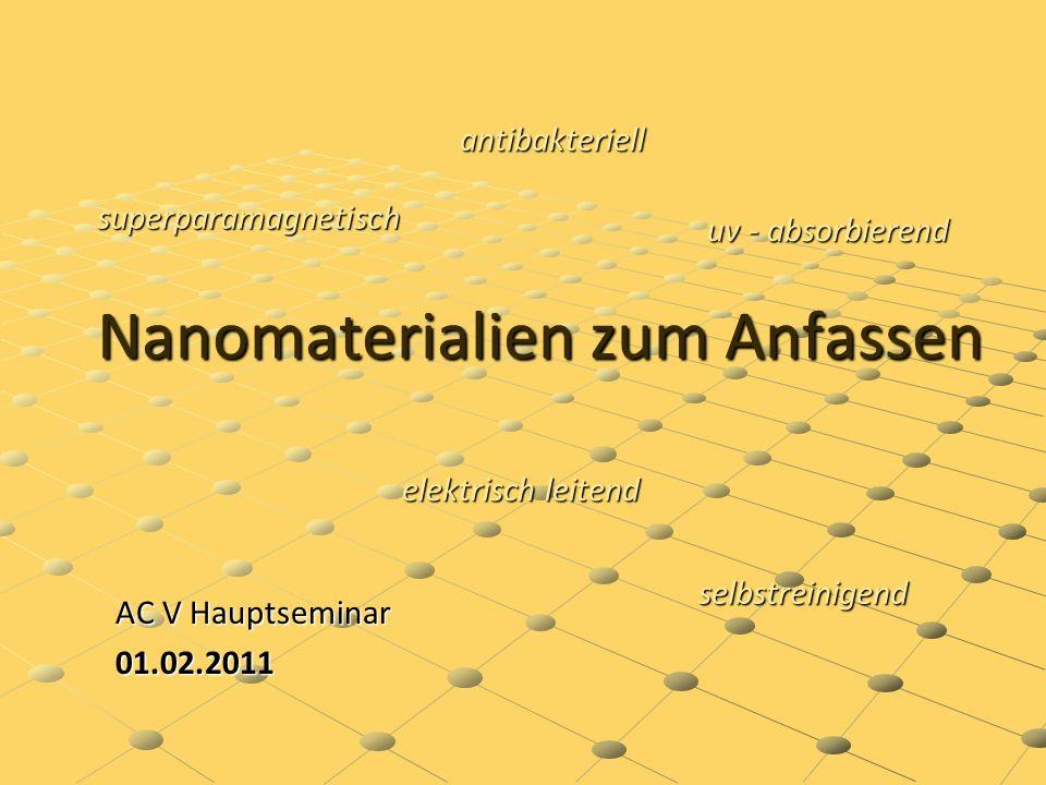 Nano Nano (griech.: Nanos = Zwerg) Ein Milliardstel eines Meters (nm = 10 -9 m) Teilchen zwischen 1 – 100 nm