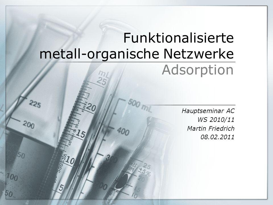 Funktionalisierte metall-organische Netzwerke Adsorption Hauptseminar AC WS 2010/11 Martin Friedrich 08.02.2011