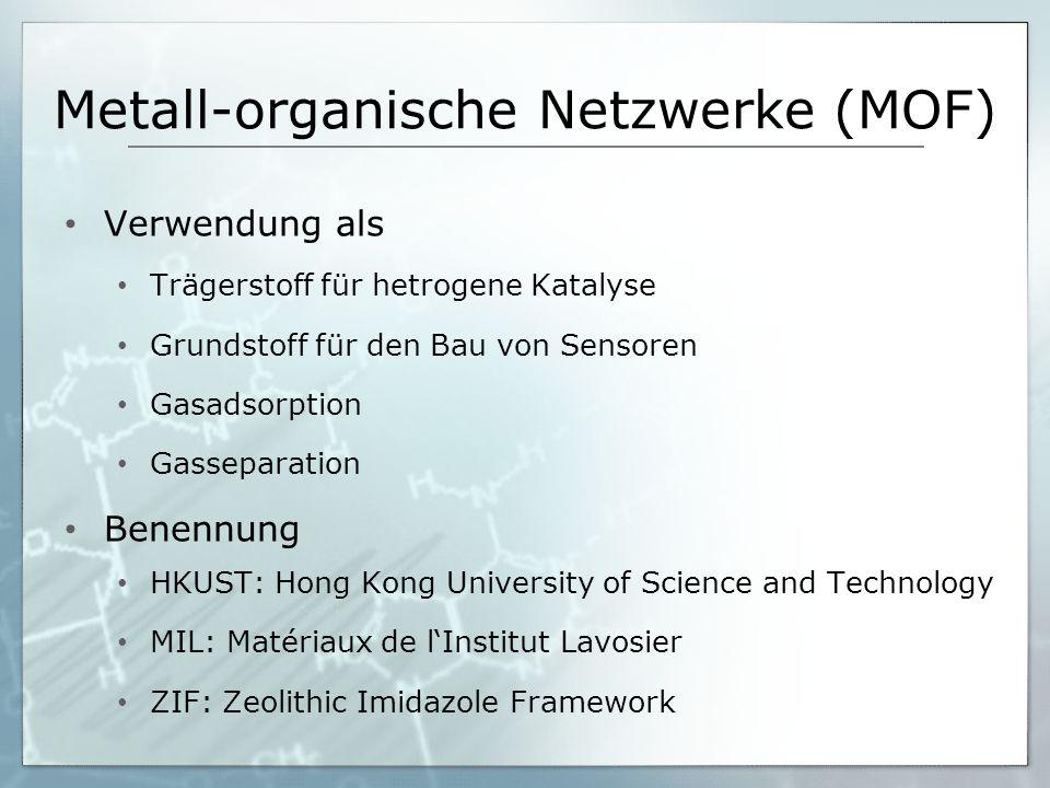 Metall-organische Netzwerke (MOF) Verwendung als Trägerstoff für hetrogene Katalyse Grundstoff für den Bau von Sensoren Gasadsorption Gasseparation Be