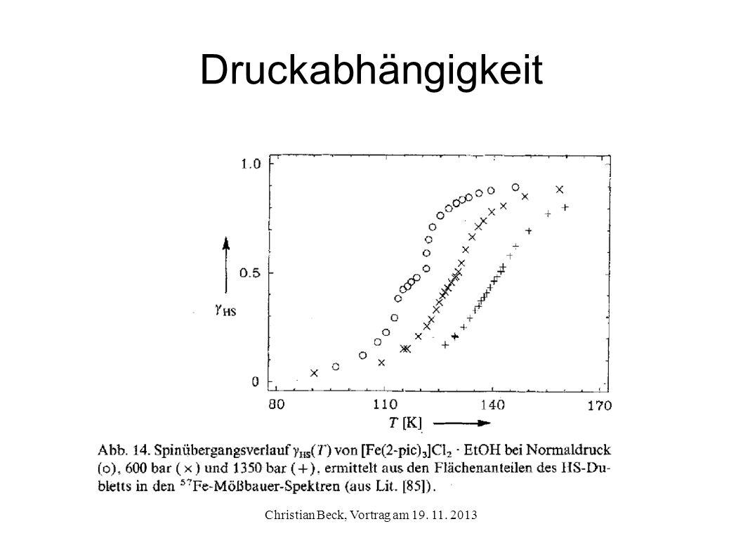Druckabhängigkeit Christian Beck, Vortrag am 19. 11. 2013