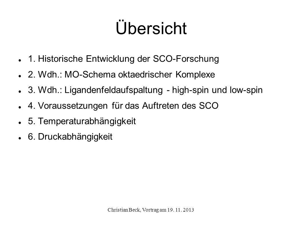 Übersicht 1. Historische Entwicklung der SCO-Forschung 2. Wdh.: MO-Schema oktaedrischer Komplexe 3. Wdh.: Ligandenfeldaufspaltung - high-spin und low-