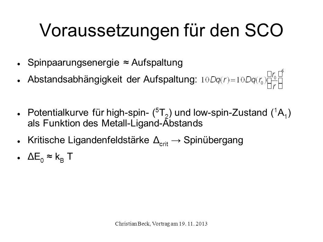 Voraussetzungen für den SCO Berechnung von Größenordnungen für 10Dq, bei denen SCO möglich ist 10Dq HS < 11000 cm -1 (~ 1.36 eV) high-spin Komplex 10 Dq HS 11500-12500 cm -1 (~ 1.42-1.54 eV) und 10 Dq LS 19000-21000 cm -1 (~ 2.36-2.60 eV) Spin-Crossover 10 Dq LS > 21500 cm -1 (~ 2.67 eV) low-spin Komplex Christian Beck, Vortrag am 19.
