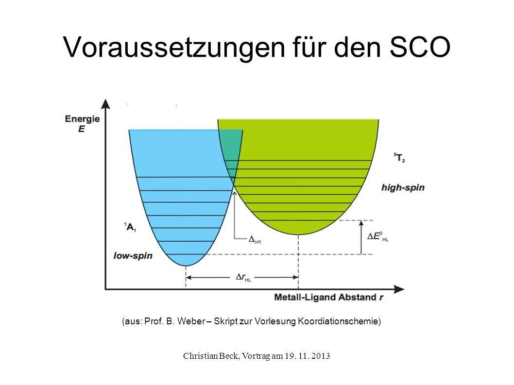 Voraussetzungen für den SCO Christian Beck, Vortrag am 19. 11. 2013 (aus: Prof. B. Weber – Skript zur Vorlesung Koordiationschemie)