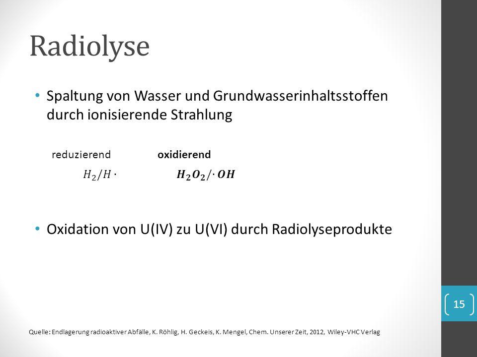 Radiolyse Spaltung von Wasser und Grundwasserinhaltsstoffen durch ionisierende Strahlung Oxidation von U(IV) zu U(VI) durch Radiolyseprodukte reduzier