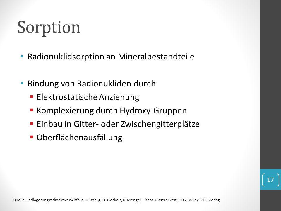 Sorption Radionuklidsorption an Mineralbestandteile Bindung von Radionukliden durch Elektrostatische Anziehung Komplexierung durch Hydroxy-Gruppen Ein