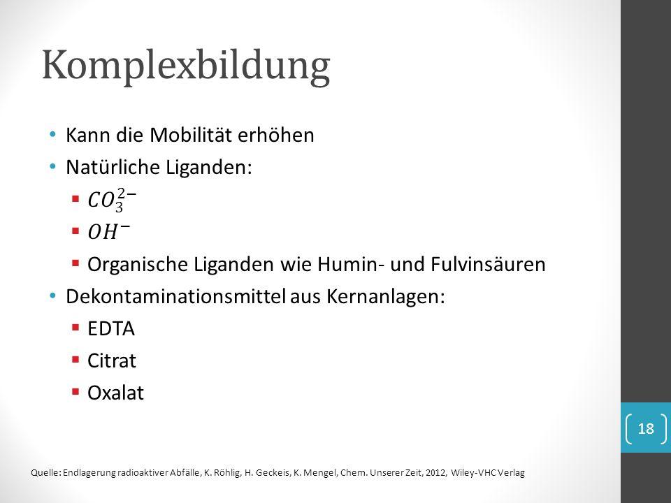 Komplexbildung 18 Quelle: Endlagerung radioaktiver Abfälle, K. Röhlig, H. Geckeis, K. Mengel, Chem. Unserer Zeit, 2012, Wiley-VHC Verlag