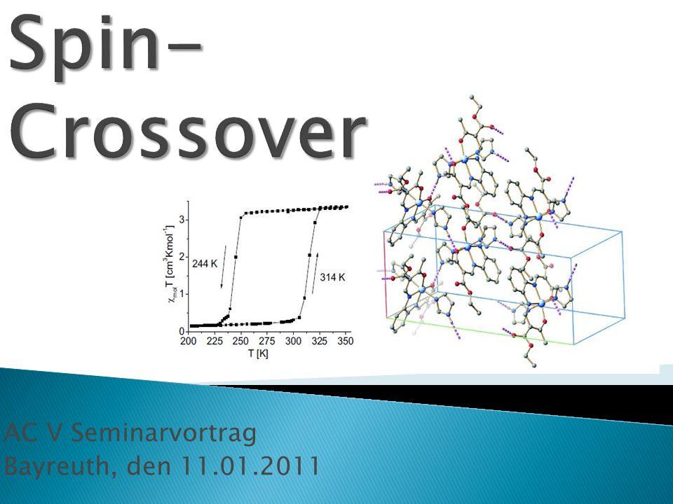 Erste Erkenntnisse High- Spin- und Low- Spin- Zustände Tannabe- Sugano- Diagramme Farbigkeit von Spin- Crossover- Verbindungen Kooperative Wechselwirkungen und Hysterese Ausblick: Aktuelle Forschungsstandpunkte