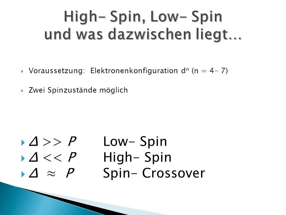 Voraussetzung: Elektronenkonfiguration d n (n = 4- 7) Zwei Spinzustände möglich Δ >> P Low- Spin Δ << P High- Spin Δ P Spin- Crossover