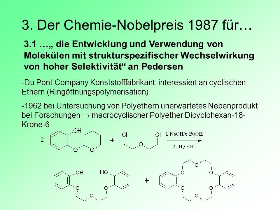 3. Der Chemie-Nobelpreis 1987 für… 3.1 … die Entwicklung und Verwendung von Molekülen mit strukturspezifischer Wechselwirkung von hoher Selektivität a
