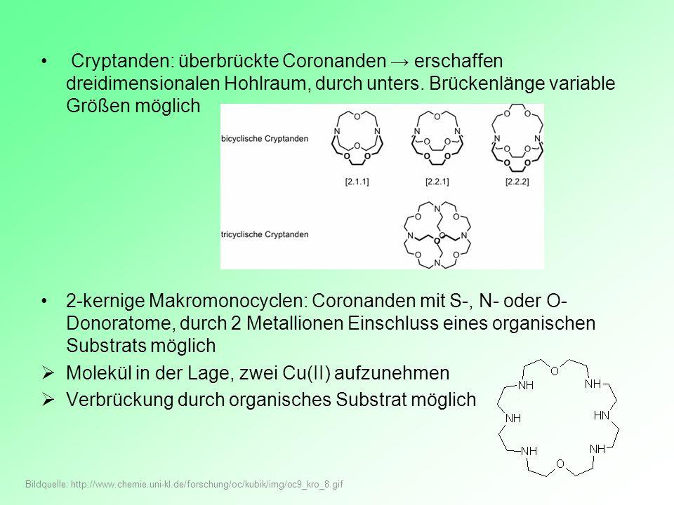 Cryptanden: überbrückte Coronanden erschaffen dreidimensionalen Hohlraum, durch unters. Brückenlänge variable Größen möglich 2-kernige Makromonocyclen