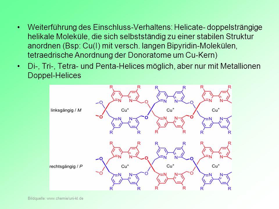 Weiterführung des Einschluss-Verhaltens: Helicate- doppelsträngige helikale Moleküle, die sich selbstständig zu einer stabilen Struktur anordnen (Bsp: