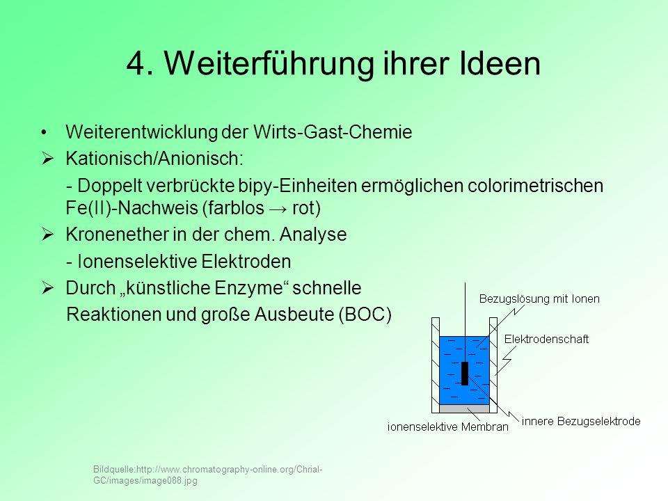 4. Weiterführung ihrer Ideen Weiterentwicklung der Wirts-Gast-Chemie Kationisch/Anionisch: - Doppelt verbrückte bipy-Einheiten ermöglichen colorimetri