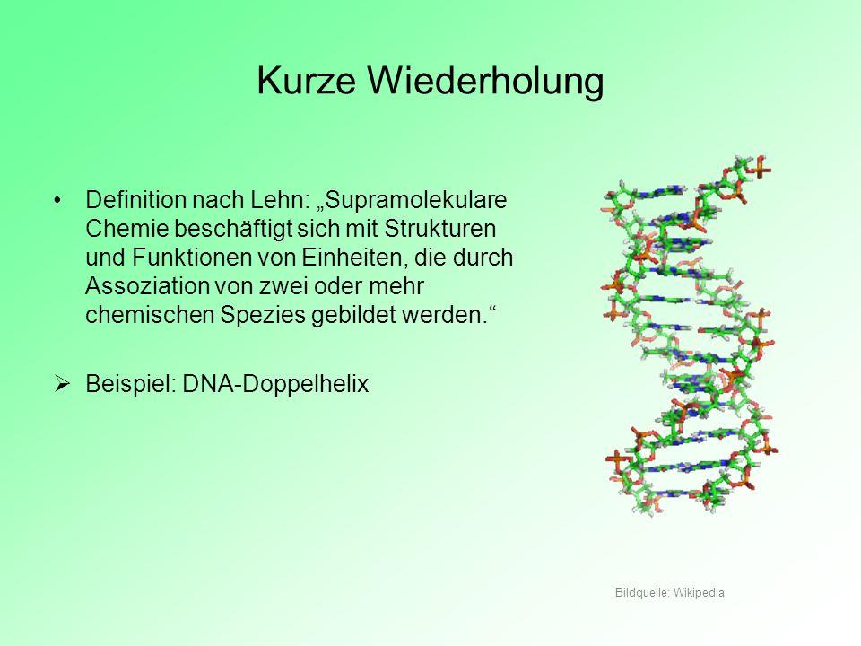 Kurze Wiederholung Definition nach Lehn: Supramolekulare Chemie beschäftigt sich mit Strukturen und Funktionen von Einheiten, die durch Assoziation vo