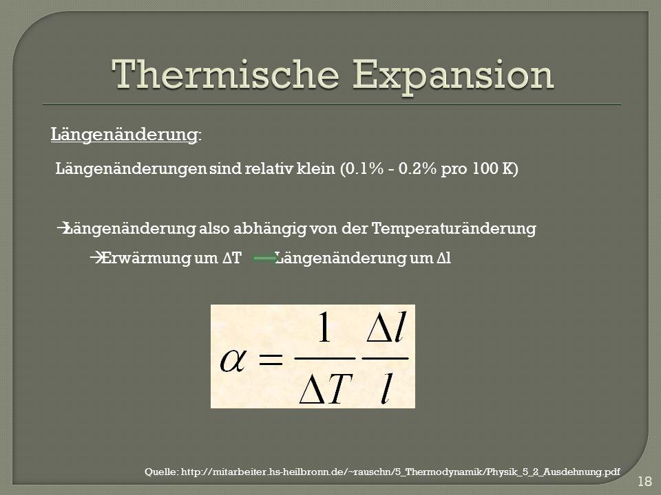 18 Längenänderungen sind relativ klein (0.1% - 0.2% pro 100 K) Längenänderung also abhängig von der Temperaturänderung Erwärmung um Δ T Längenänderung um Δ l Längenänderung : Quelle: http://mitarbeiter.hs-heilbronn.de/~rauschn/5_Thermodynamik/Physik_5_2_Ausdehnung.pdf