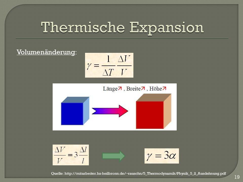 19 Volumenänderung : Quelle: http://mitarbeiter.hs-heilbronn.de/~rauschn/5_Thermodynamik/Physik_5_2_Ausdehnung.pdf