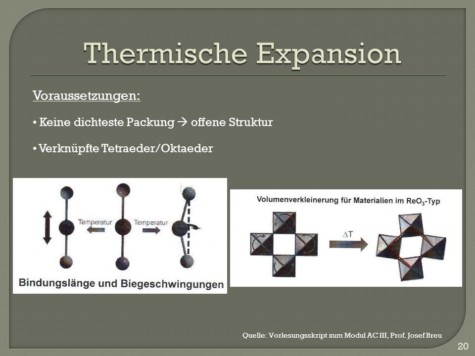 20 Voraussetzungen: Keine dichteste Packung offene Struktur Verknüpfte Tetraeder/Oktaeder Quelle: Vorlesungsskript zum Modul AC III, Prof.