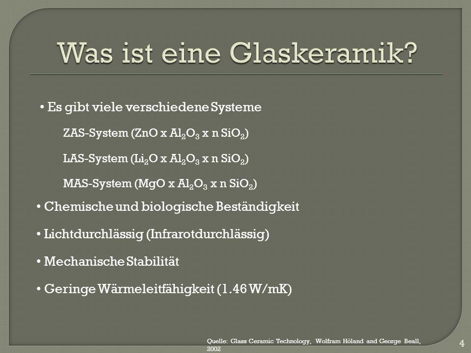 4 Es gibt viele verschiedene Systeme ZAS-System (ZnO x Al 2 O 3 x n SiO 2 ) LAS-System (Li 2 O x Al 2 O 3 x n SiO 2 ) MAS-System (MgO x Al 2 O 3 x n SiO 2 ) Chemische und biologische Beständigkeit Lichtdurchlässig (Infrarotdurchlässig) Mechanische Stabilität Geringe Wärmeleitfähigkeit (1.46 W/mK) Quelle: Glass Ceramic Technology, Wolfram Höland and George Beall, 2002