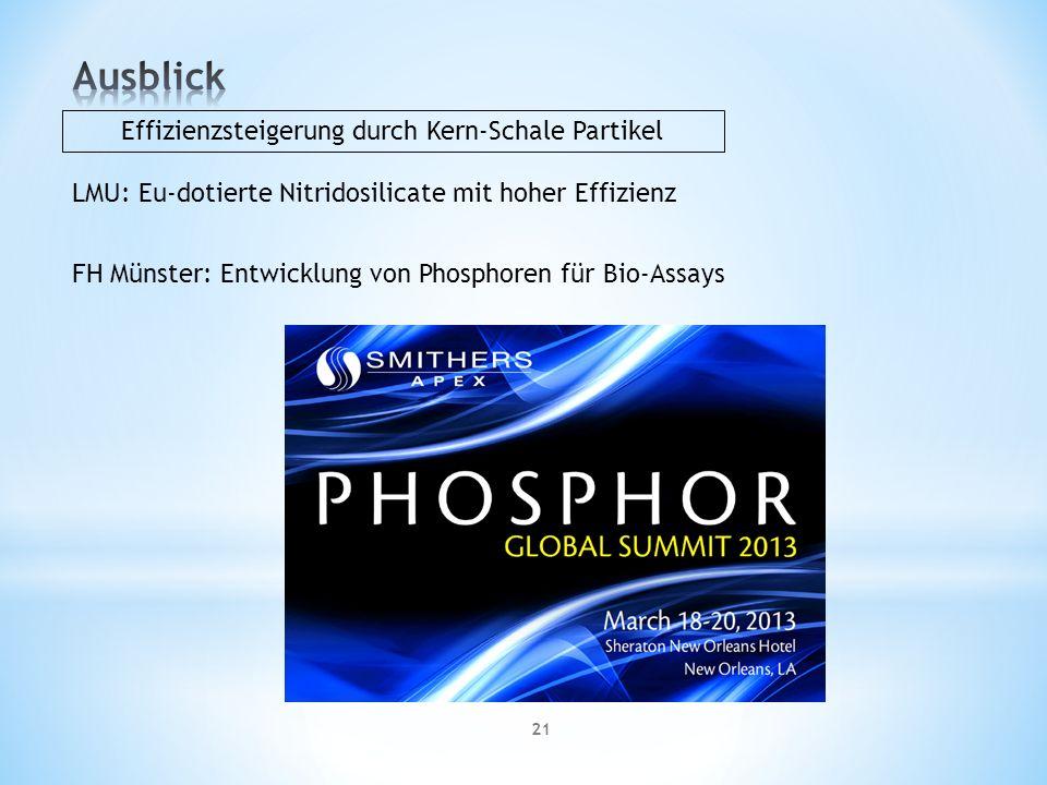 21 LMU: Eu-dotierte Nitridosilicate mit hoher Effizienz FH Münster: Entwicklung von Phosphoren für Bio-Assays Effizienzsteigerung durch Kern-Schale Partikel